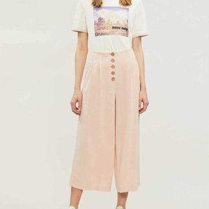 NEW Topshop Pink Linen Button Front Wide Leg Crops